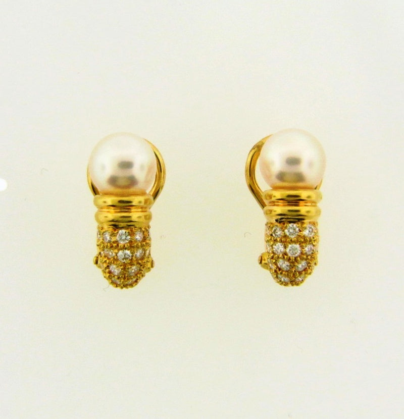 18K Yellow Gold, Pearl and Diamond Earrings by Mikimoto | 18 Karat Appraisers | Beverly Hills, CA | Fine Jewelry