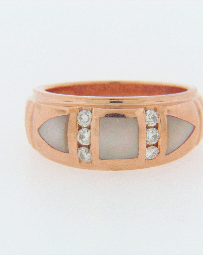 14K ROSE GOLD DIAMOND AND MOP RING | 18 Karat Appraisers | Beverly Hills, CA | Fine Jewelry