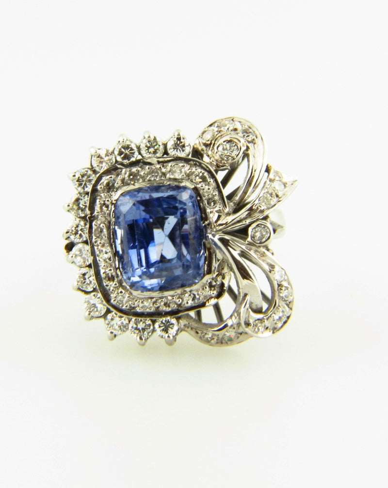 18K White Gold, Sapphire and Diamond Ring | 18 Karat Appraisers | Beverly Hills, CA | Fine Jewelry