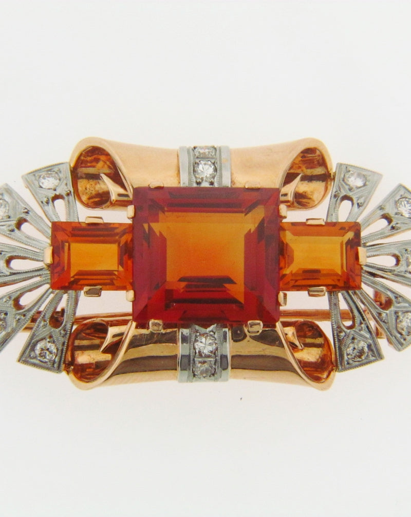 14K GOLD CITRINE AND DIAMOND BROOCH | 18 Karat Appraisers | Beverly Hills, CA | Fine Jewelry