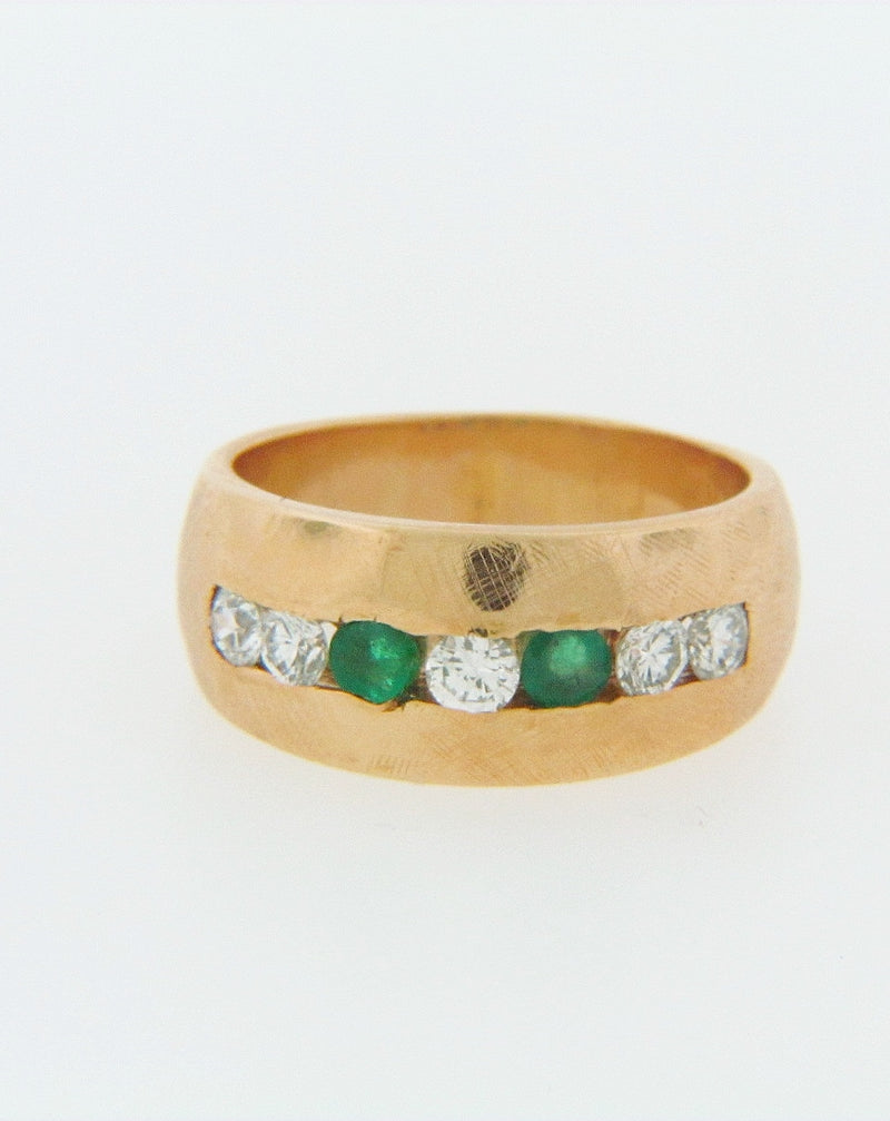 14K-YG DIAMOND AND EMERALD BAND | 18 Karat Appraisers | Beverly Hills, CA | Fine Jewelry