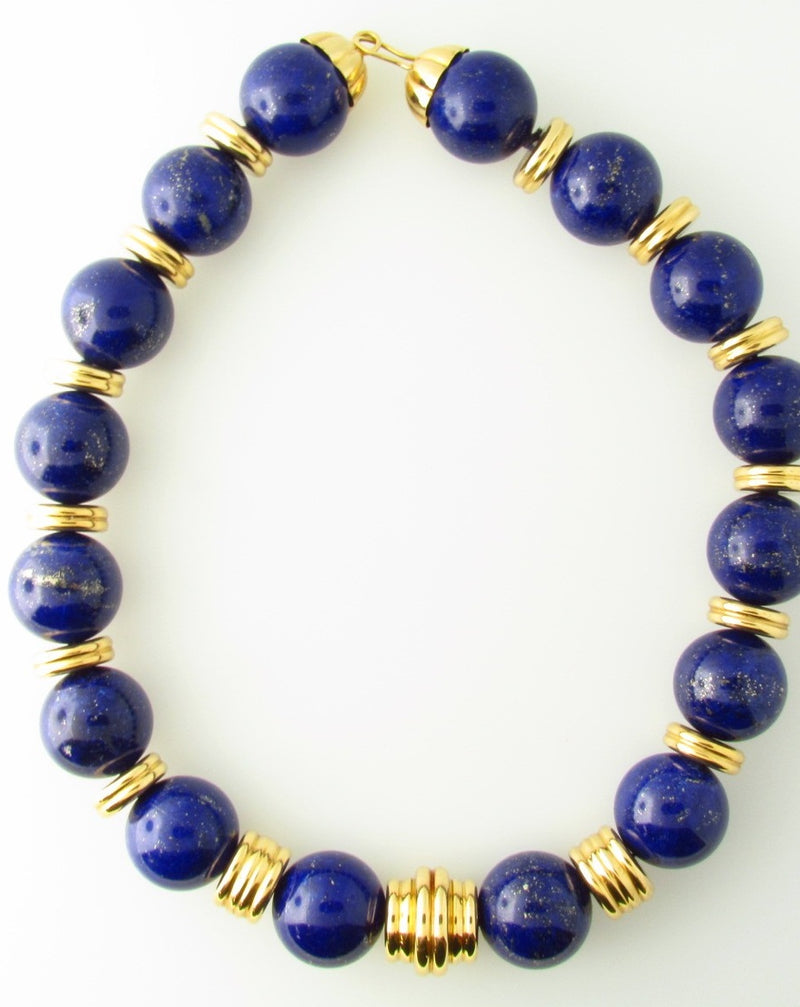 18K Yellow Gold, Lapis Lazuli Bead Necklace | 18 Karat Appraisers | Beverly Hills, CA | Fine Jewelry