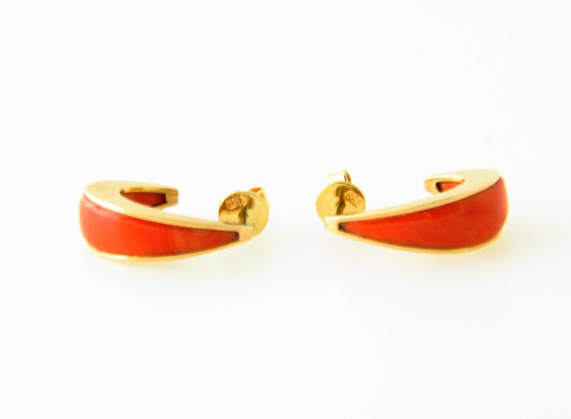 14K Yellow Gold, Coral Hoop Earrings | 18 Karat Appraisers | Beverly Hills, CA | Fine Jewelry
