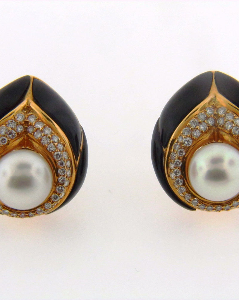 18K Yellow Gold Pearl, Diamond, and Black Onyx Earclips | 18 Karat Appraisers | Beverly Hills, CA | Fine Jewelry