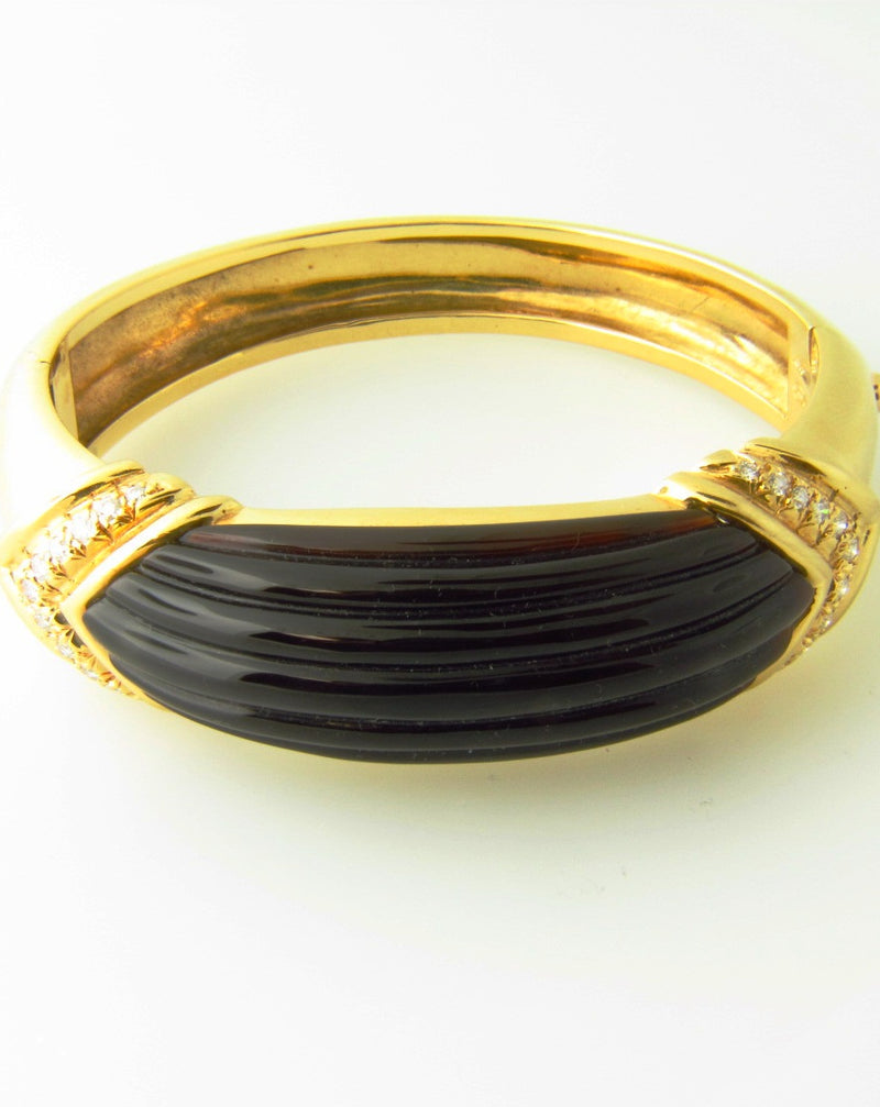 18K Yellow Gold, Onyx and Diamond Bangle Bracelet | 18 Karat Appraisers | Beverly Hills, CA | Fine Jewelry