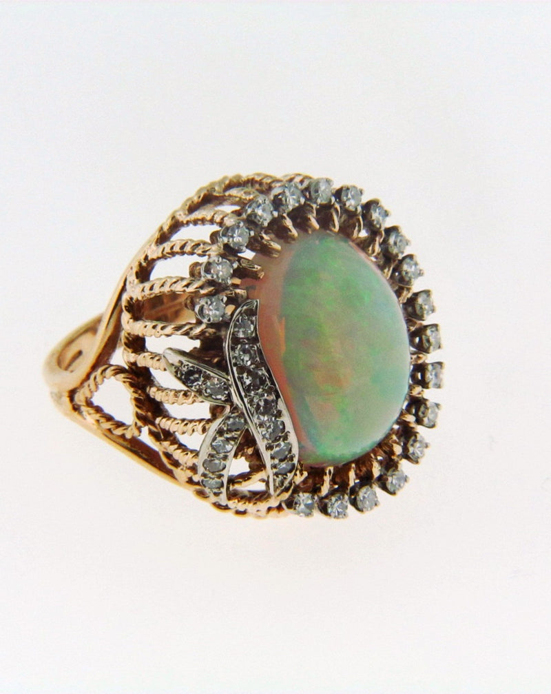 14K Yellow Gold Opal and Diamond Ring | 18 Karat Appraisers | Beverly Hills, CA | Fine Jewelry