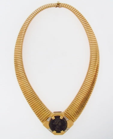 18K-YG ANCIENT COIN AND DIAMOND TUBOGAS NECKLACE
