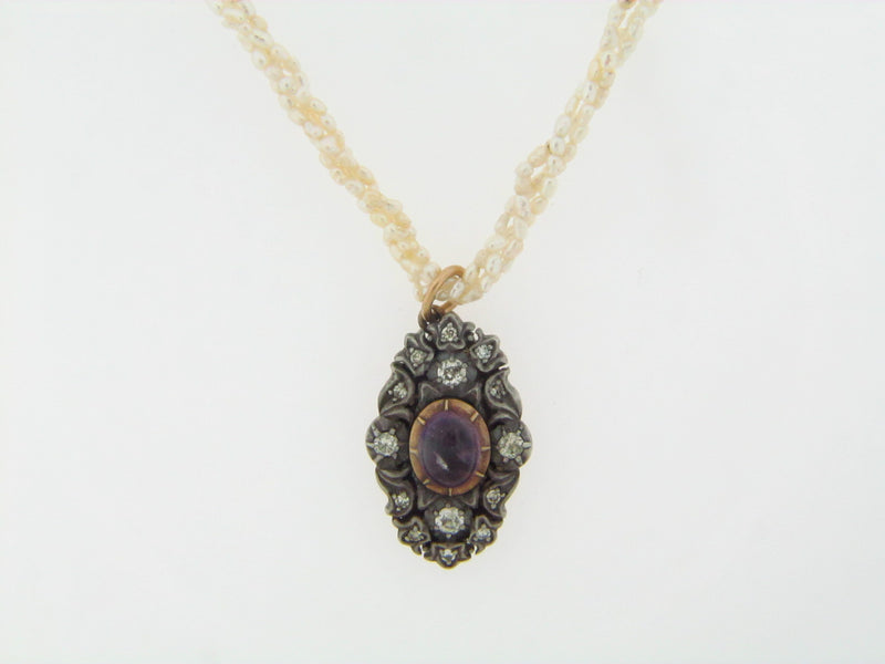 SILVER TOPPED, 14K YELLOW GOLD AMETHYST AND DIAMOND PENDANT | 18 Karat Appraisers | Beverly Hills, CA | Fine Jewelry