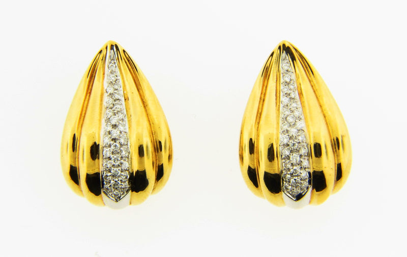18K Yellow Gold Diamond Earrings | 18 Karat Appraisers | Beverly Hills, CA | Fine Jewelry