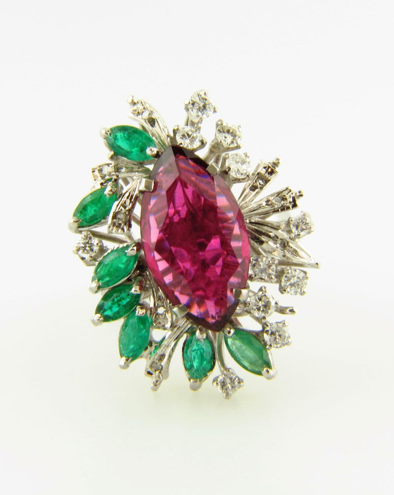 18K White Gold, Rubellite, Emerald, and Diamond Ring | 18 Karat Appraisers | Beverly Hills, CA | Fine Jewelry