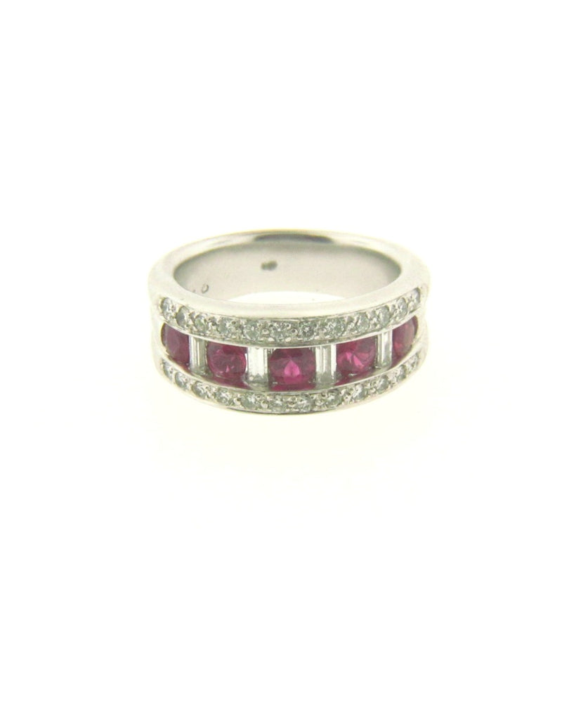 14K White Gold Pink Sapphire and Diamond Band | 18 Karat Appraisers | Beverly Hills, CA | Fine Jewelry