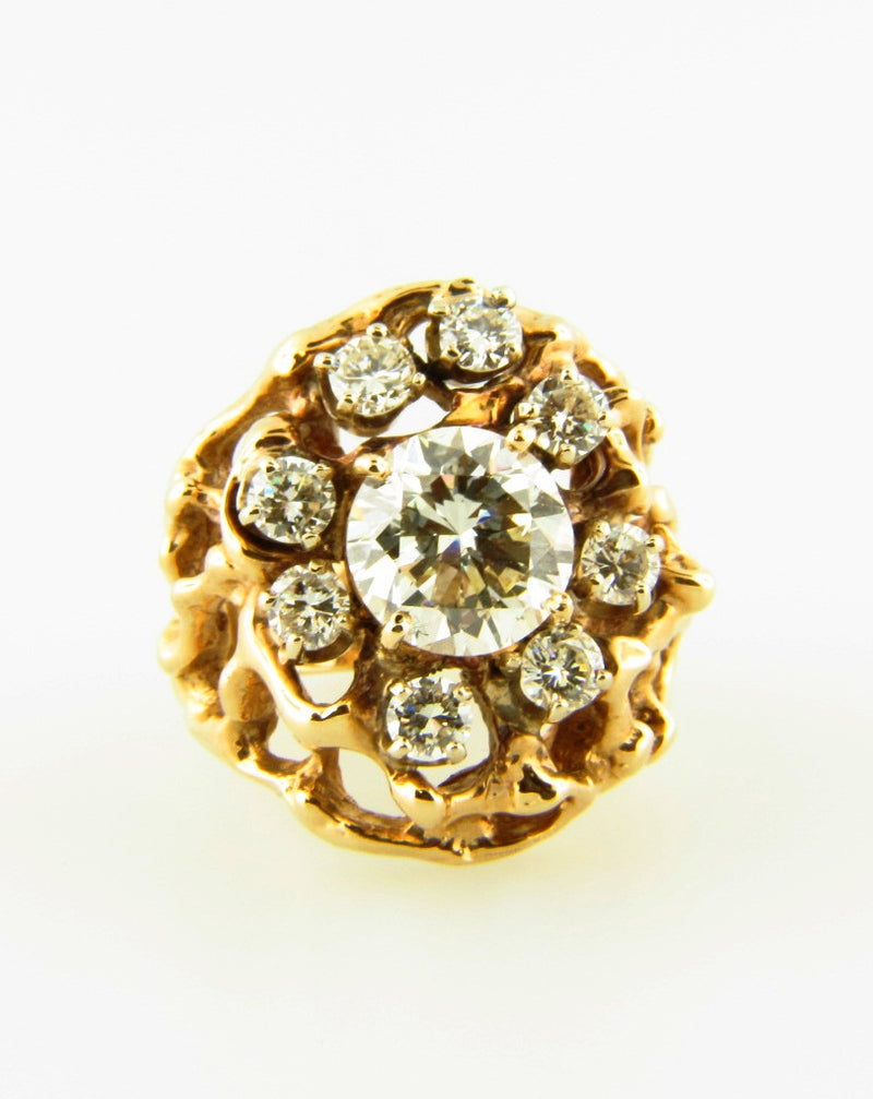 14K Yellow Gold Diamond Cluster Ring | 18 Karat Appraisers | Beverly Hills, CA | Fine Jewelry