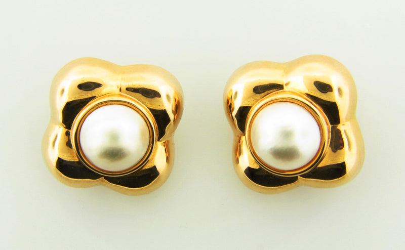 14K Yellow Gold, Mabe Pearl Earrings | 18 Karat Appraisers | Beverly Hills, CA | Fine Jewelry