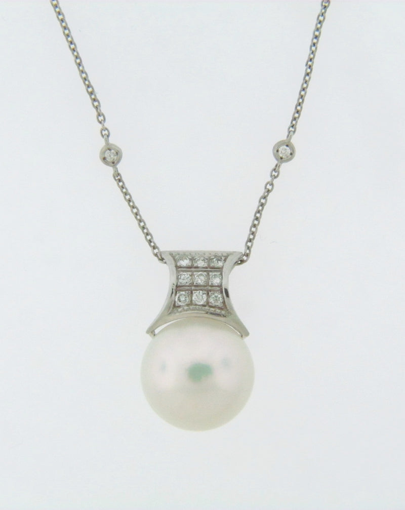 18K WHITE GOLD, PEARL AND DIAMOND PENDANT | 18 Karat Appraisers | Beverly Hills, CA | Fine Jewelry