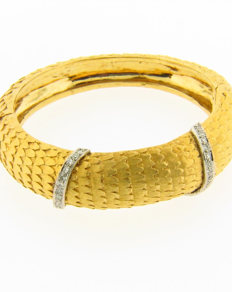 14K Yellow Gold, Diamond Bangle Bracelet | 18 Karat Appraisers | Beverly Hills, CA | Fine Jewelry
