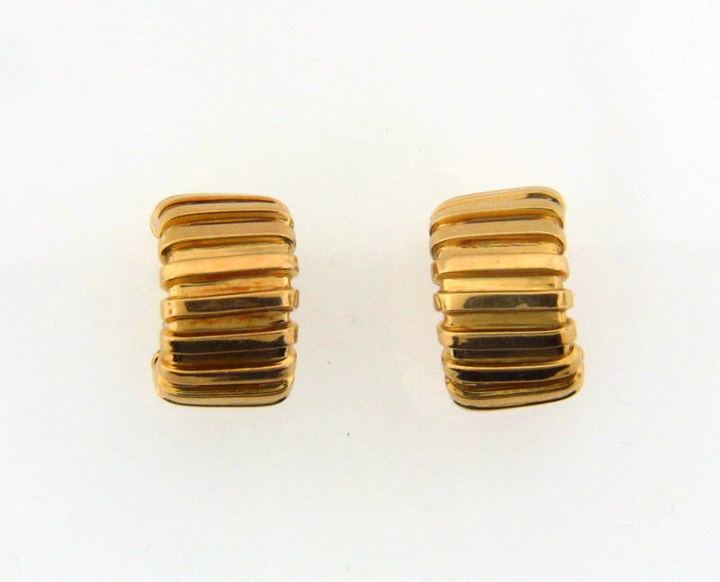 18K Yellow Gold Ribbed Hoop Earrings | 18 Karat Appraisers | Beverly Hills, CA | Fine Jewelry
