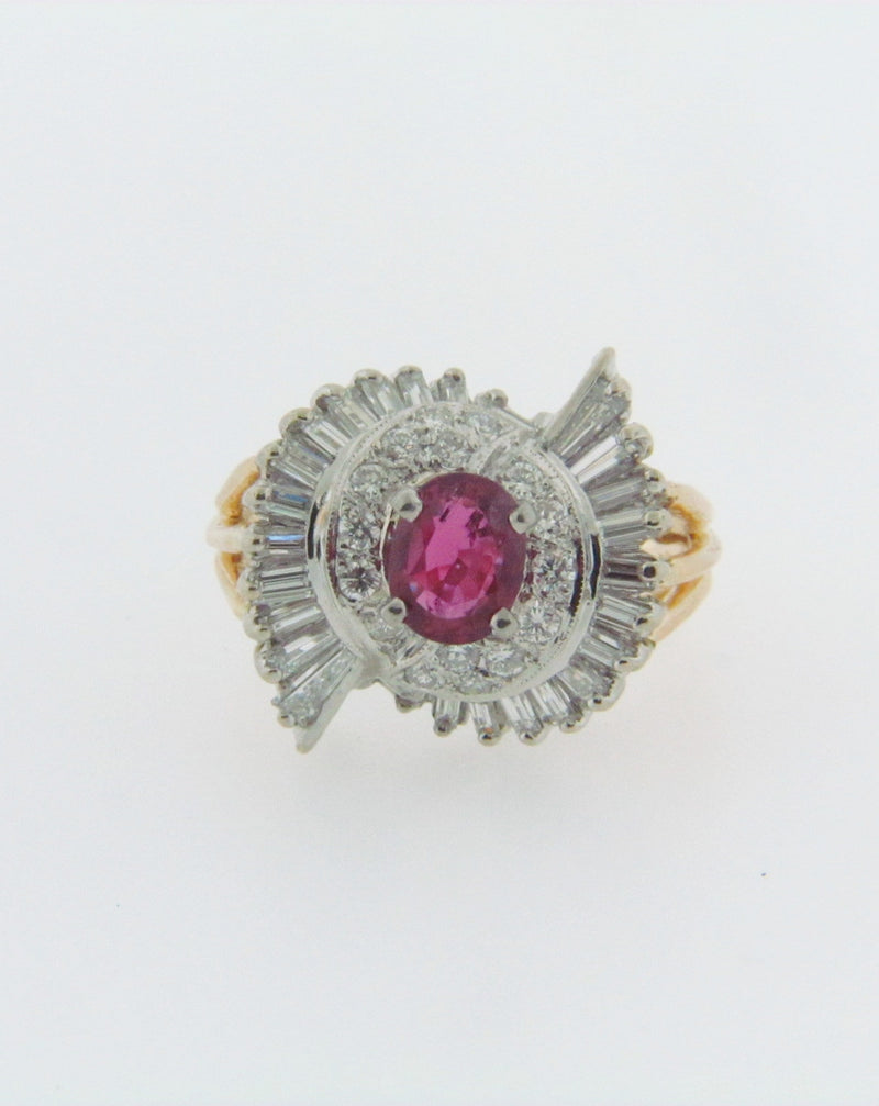 14K-YG+WG RUBY AND DIAMOND RING | 18 Karat Appraisers | Beverly Hills, CA | Fine Jewelry