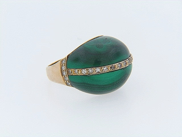 14K-YG MALACHITE AND DIAMOND RING | 18 Karat Appraisers | Beverly Hills, CA | Fine Jewelry