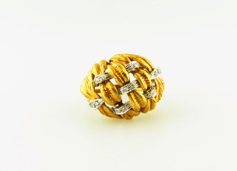 18K Yellow Gold, Diamond Bombe Ring | 18 Karat Appraisers | Beverly Hills, CA | Fine Jewelry