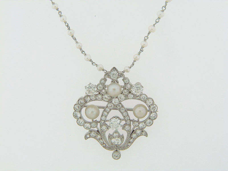 PLATINUM DIAMOND AND PEARL PENDANT | 18 Karat Appraisers | Beverly Hills, CA | Fine Jewelry
