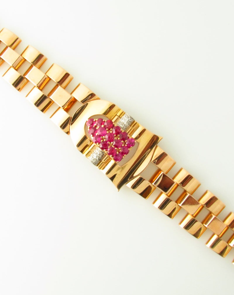 18K Rose Gold Ruby and Diamond Bracelet | 18 Karat Appraisers | Beverly Hills, CA | Fine Jewelry