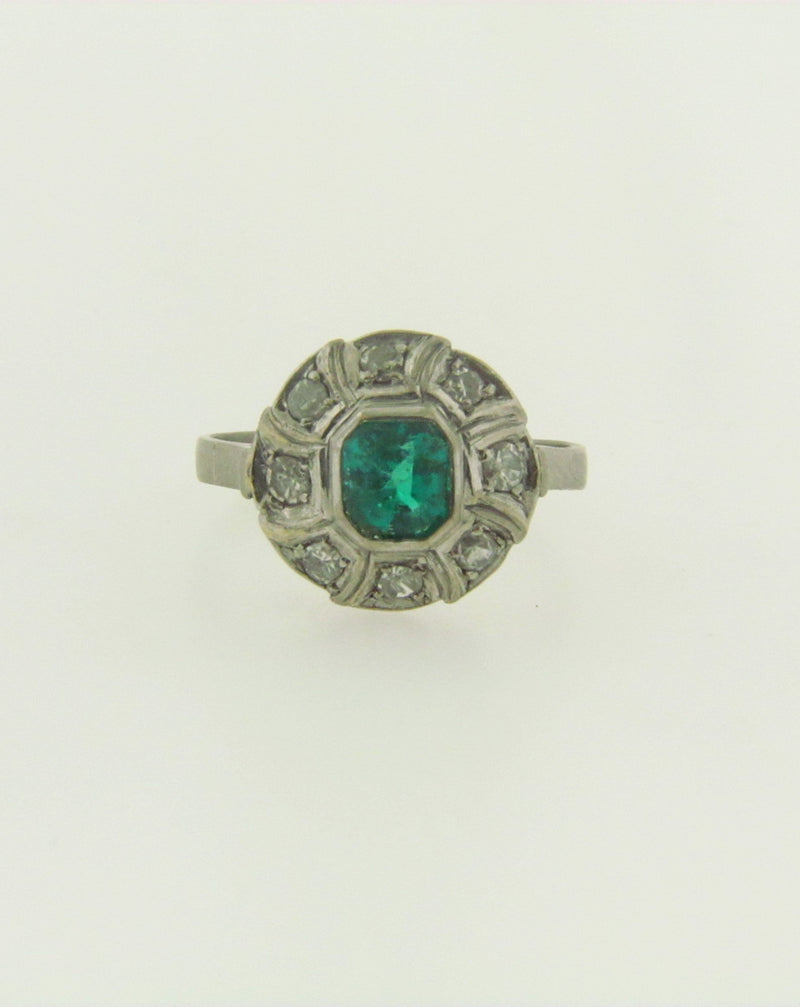18K White Gold Emerald and Diamond Ring | 18 Karat Appraisers | Beverly Hills, CA | Fine Jewelry