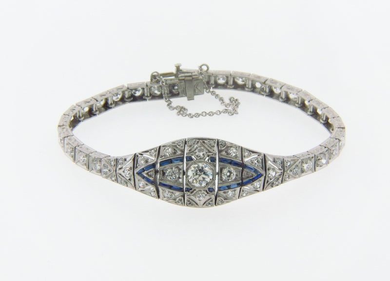 Art Deco, Platinum Diamond and Sapphire Bracelet