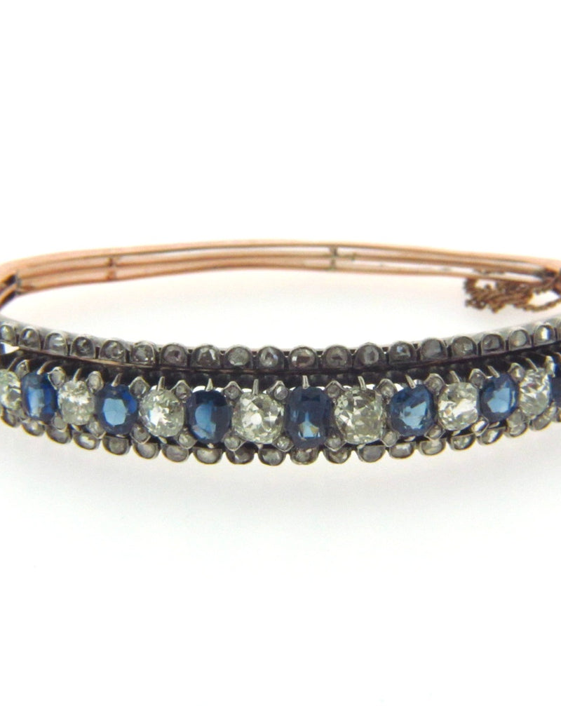 Silver Topped gold, Sapphire and Diamond Bracelet | 18 Karat Appraisers | Beverly Hills, CA | Fine Jewelry