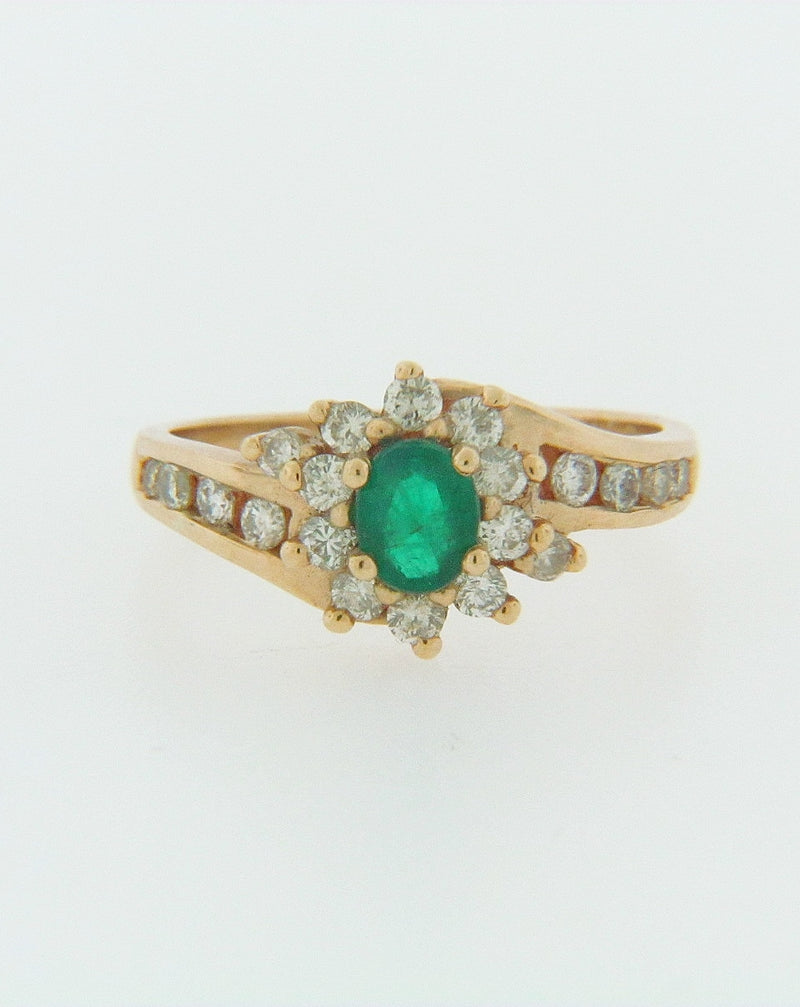 14K YELLOW GOLD EMERALD AND DIAMOND RING | 18 Karat Appraisers | Beverly Hills, CA | Fine Jewelry