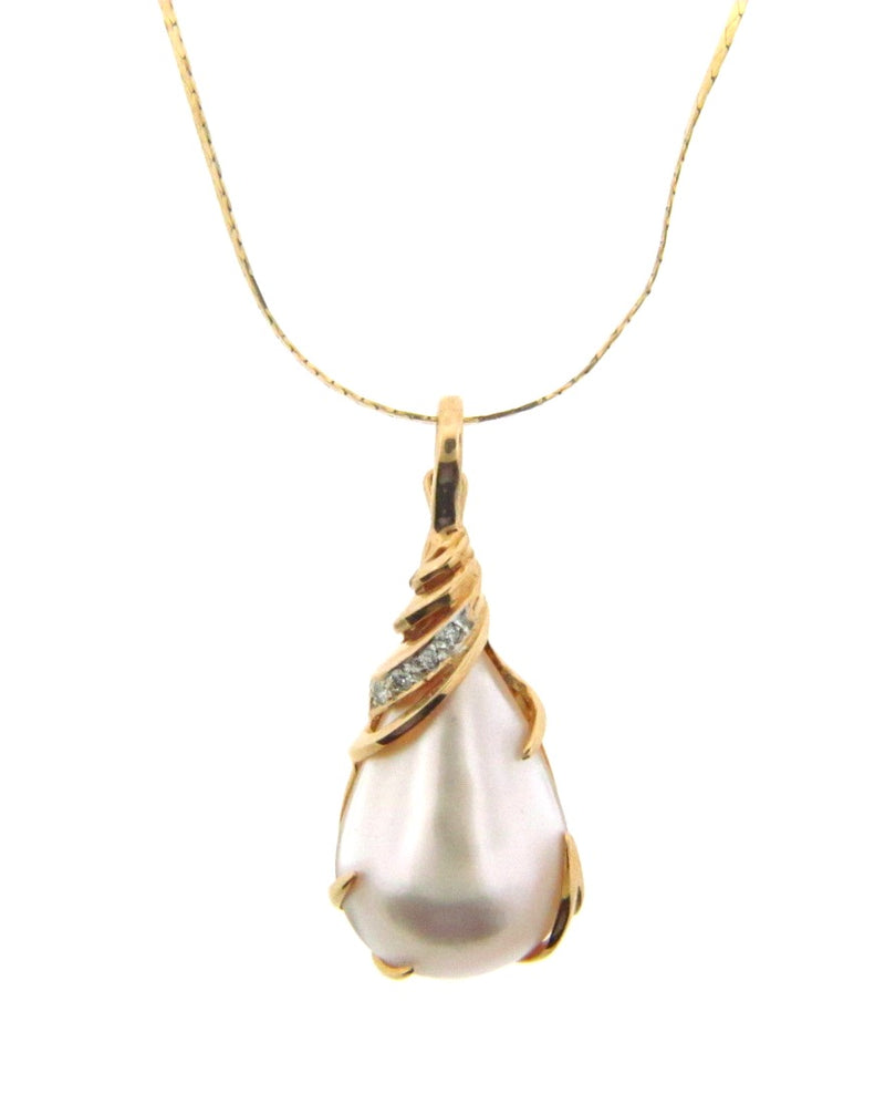 14K Yellow Gold Diamond and Pearl Pendant | 18 Karat Appraisers | Beverly Hills, CA | Fine Jewelry