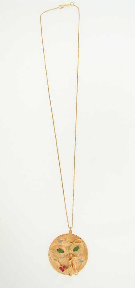 14K YELLOW GOLD CIRCULAR PENDANT / NECKLACE | 18 Karat Appraisers | Beverly Hills, CA | Fine Jewelry