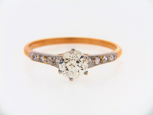 18K-YG+WG DIAMOND SOLITAIRE RING | 18 Karat Appraisers | Beverly Hills, CA | Fine Jewelry