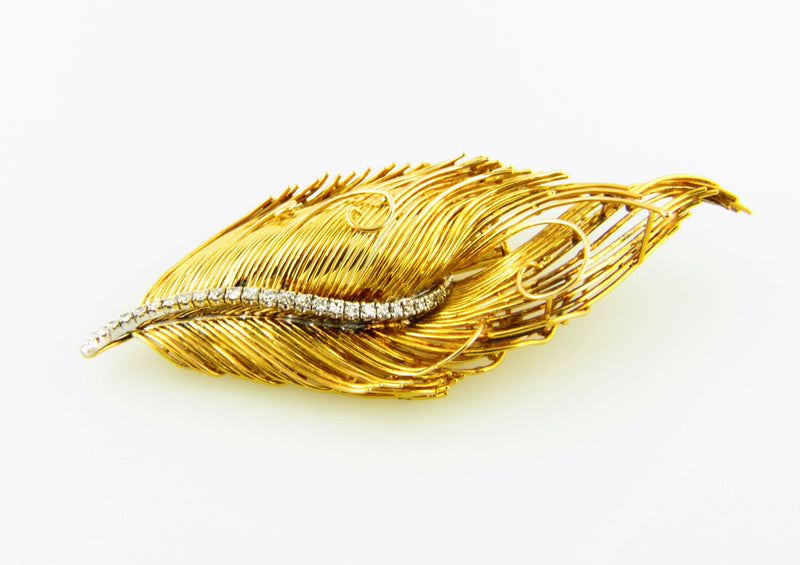 18K Yellow Gold, Diamond Leaf Brooch | 18 Karat Appraisers | Beverly Hills, CA | Fine Jewelry