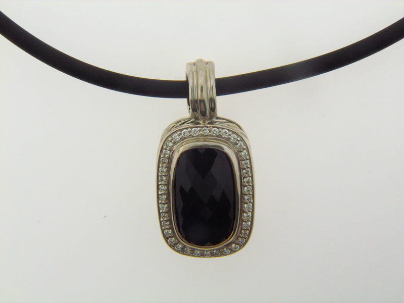 "Silver Onyx and Diamond Pendant by ""David Yurman"" 
