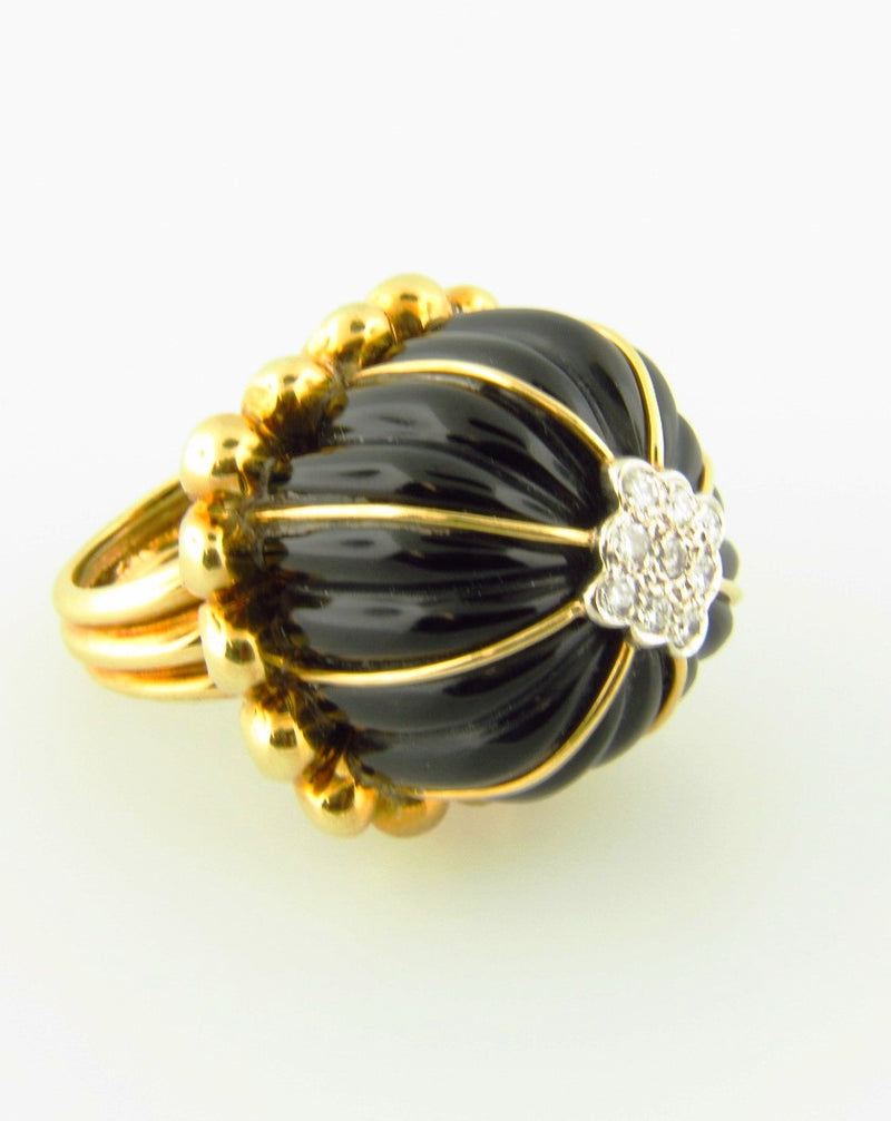 18K Yellow Gold, Onyx and Diamond Dome Ring | 18 Karat Appraisers | Beverly Hills, CA | Fine Jewelry