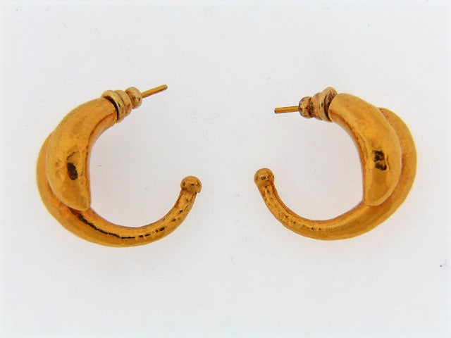 18K-YG HALF-HOOP EARRINGS