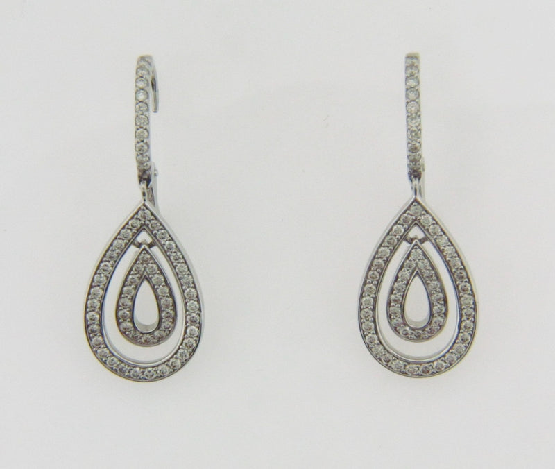 14K WHITE GOLD DIAMOND DANGLING EARRINGS | 18 Karat Appraisers | Beverly Hills, CA | Fine Jewelry