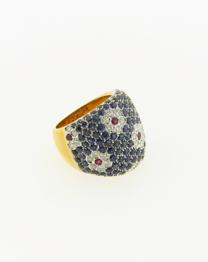 18K Yellow Gold, Diamond, Sapphire, and Ruby Ring | 18 Karat Appraisers | Beverly Hills, CA | Fine Jewelry