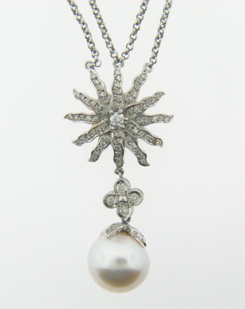 18K White Gold Diamond and Pearl Pendant | 18 Karat Appraisers | Beverly Hills, CA | Fine Jewelry