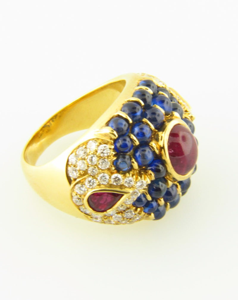 18K Yellow Gold, Ruby, Sapphire, and Diamond Ring | 18 Karat Appraisers | Beverly Hills, CA | Fine Jewelry