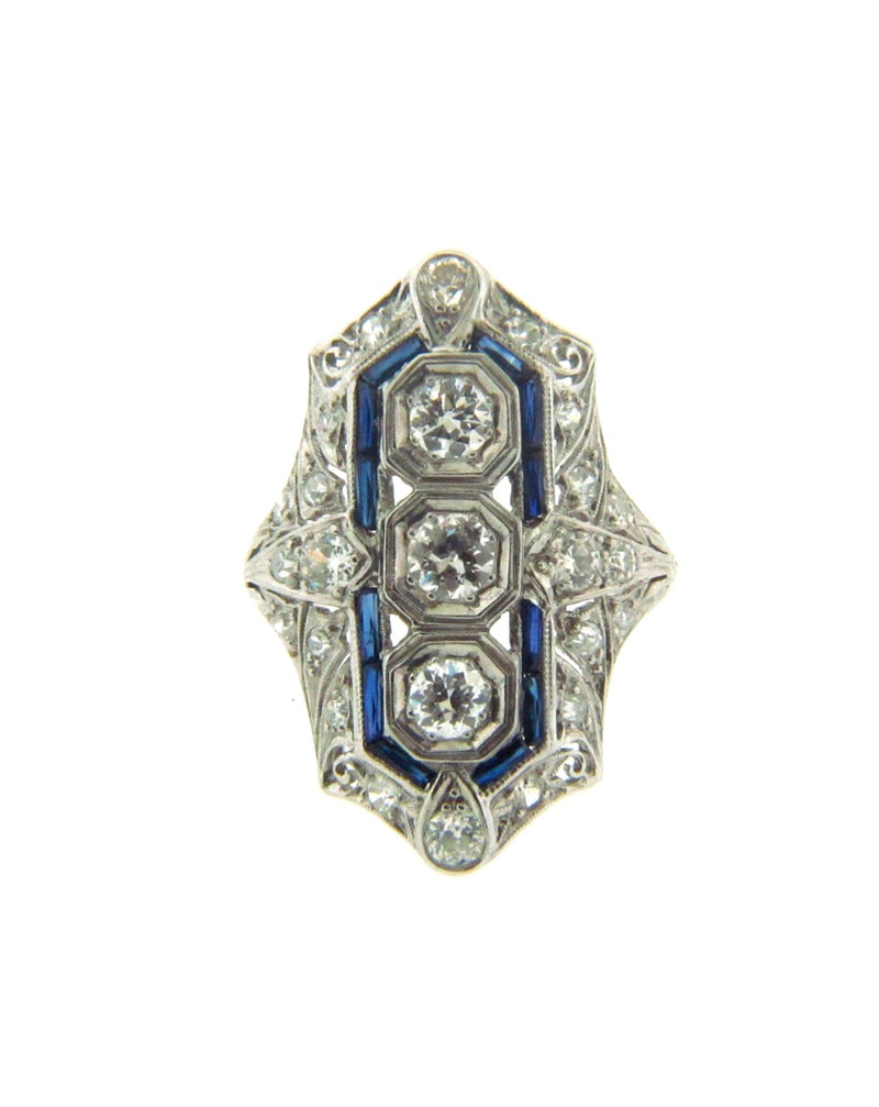 Art Deco, Platinum Diamond and Sapphire Ring | 18 Karat Appraisers | Beverly Hills, CA | Fine Jewelry