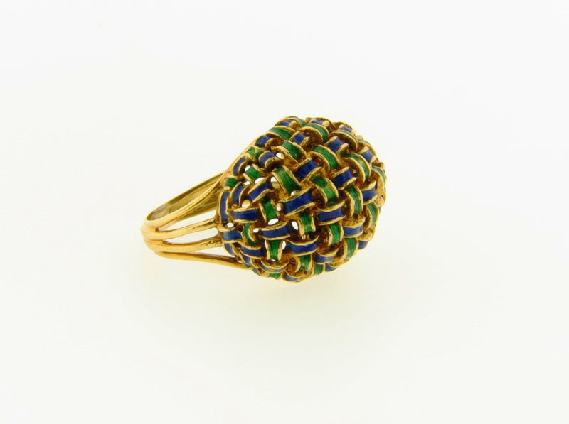 18K Yellow Gold, Enamel Ring | 18 Karat Appraisers | Beverly Hills, CA | Fine Jewelry