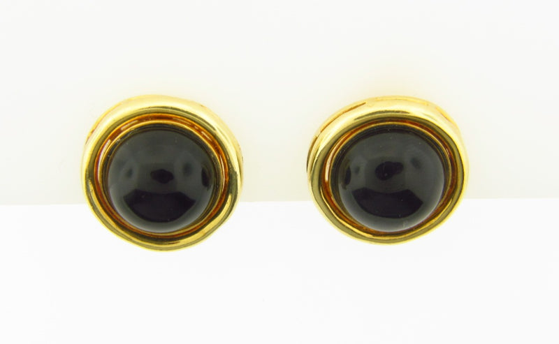 18K Yellow Gold, Onyx Earrings | 18 Karat Appraisers | Beverly Hills, CA | Fine Jewelry