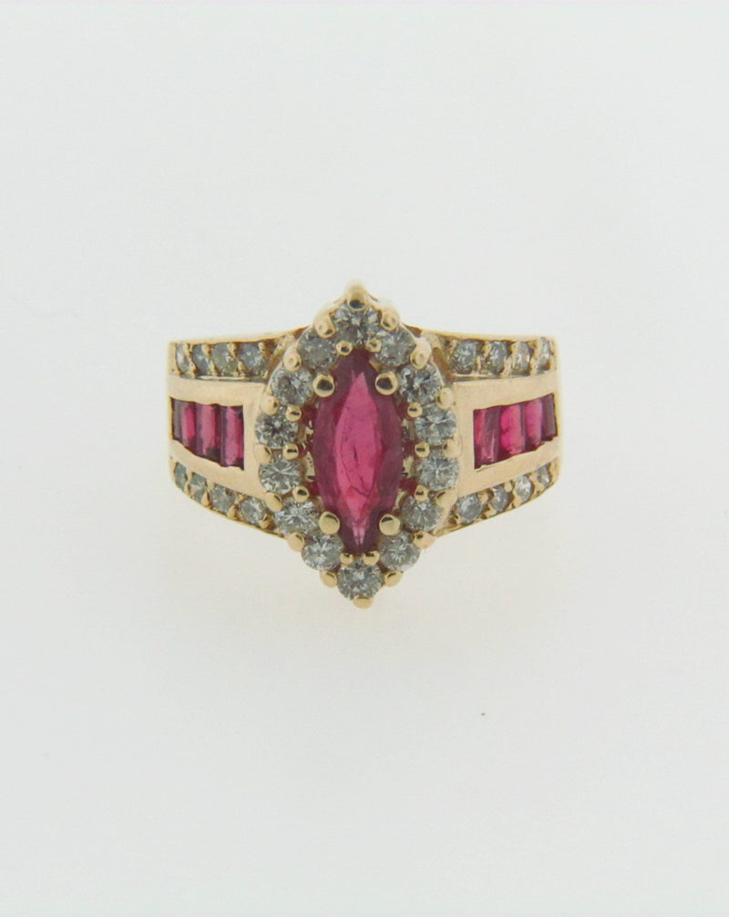 14K YELLOW GOLD RUBY AND DIAMOND RING | 18 Karat Appraisers | Beverly Hills, CA | Fine Jewelry