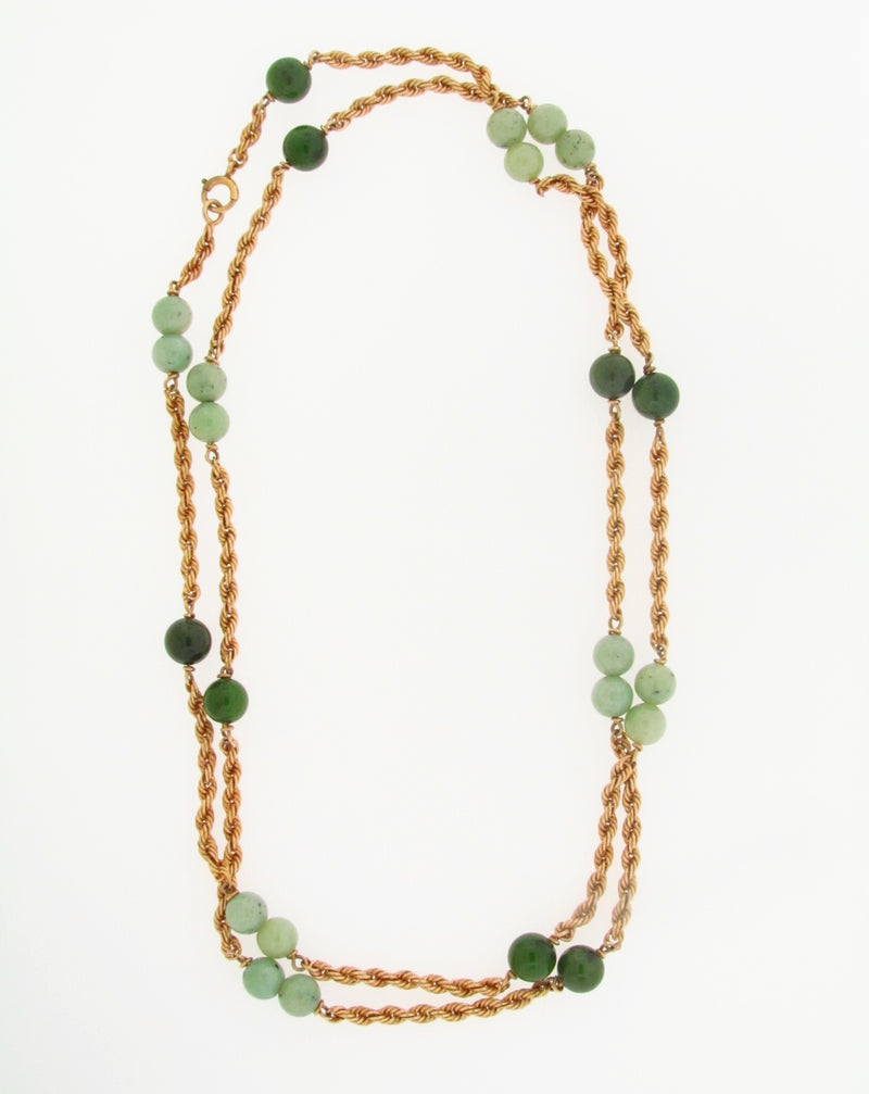 14K YELLOW GOLD JADE BEAD, ROPE TWIST CHAIN NECKLACE | 18 Karat Appraisers | Beverly Hills, CA | Fine Jewelry