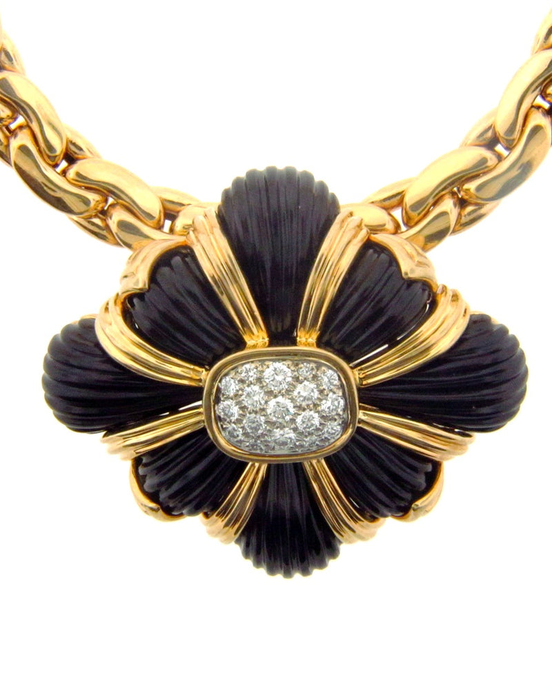 18K Yellow Gold, Onyx and Diamond Brooch with Pearl Necklace | 18 Karat Appraisers | Beverly Hills, CA | Fine Jewelry