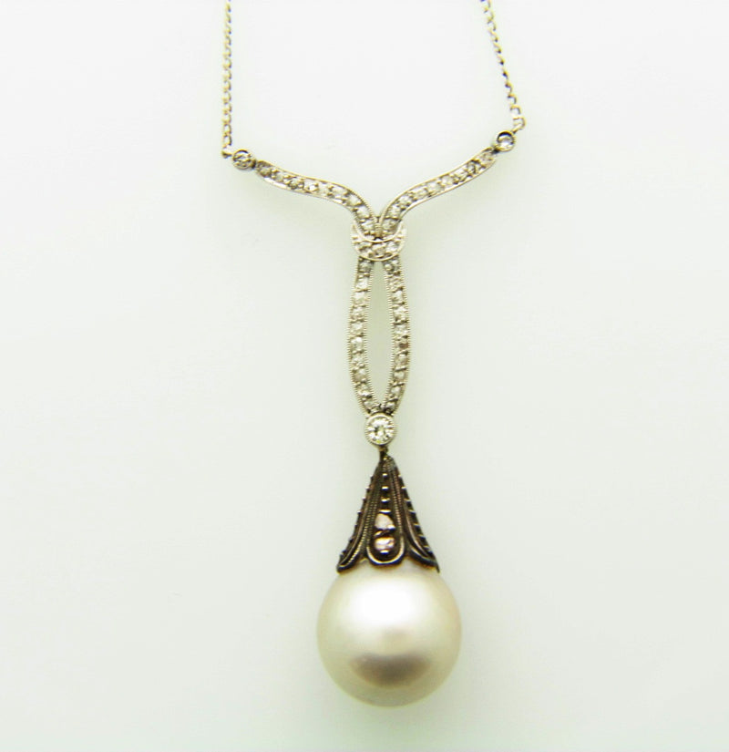 PLATINUM / SILVER NATURAL PEARL AND DIAMOND PENDANT