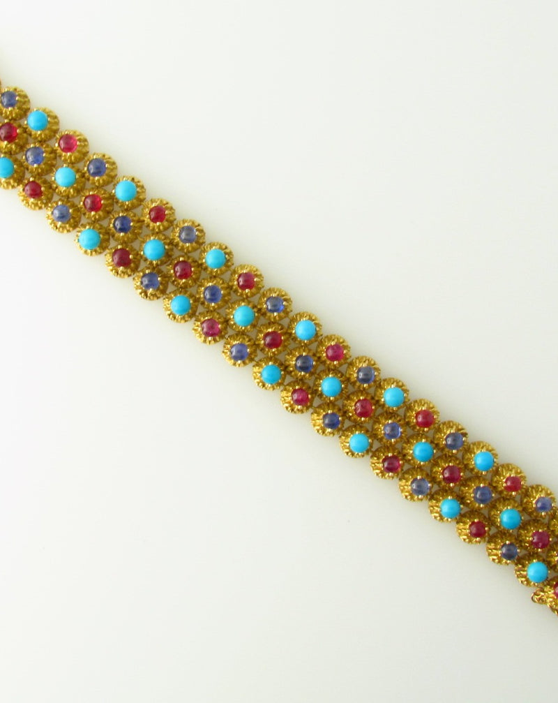 18K Yellow Gold, Ruby, Sapphire, and Turquoise Bracelet | 18 Karat Appraisers | Beverly Hills, CA | Fine Jewelry
