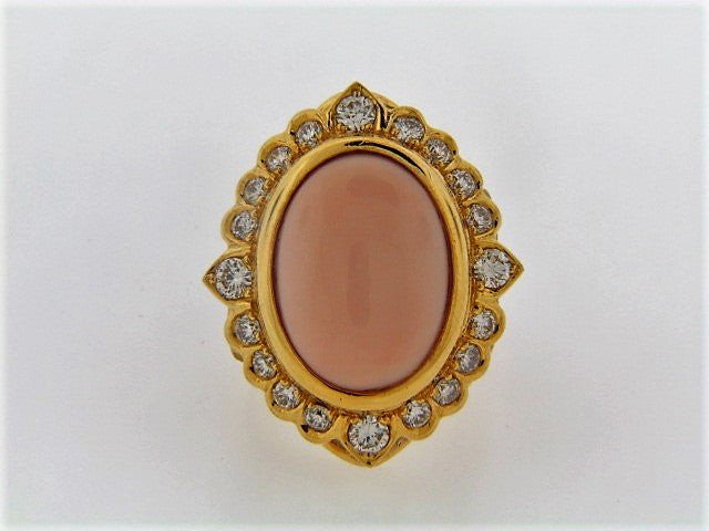 18K-YG PINK CORAL AND DIAMOND RING