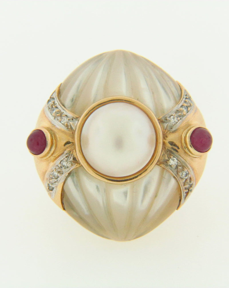 14K YELLOW GOLD MABE PEARL, RUBY, AND DIAMOND RING | 18 Karat Appraisers | Beverly Hills, CA | Fine Jewelry